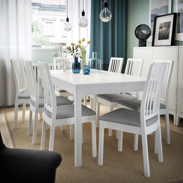 EKEDALEN Table and 6 chairs, white/Ramna light grey, 180/240 cm