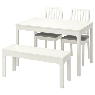 EKEDALEN Table with 2 chairs and bench, white/Ramna light grey, 120/180 cm