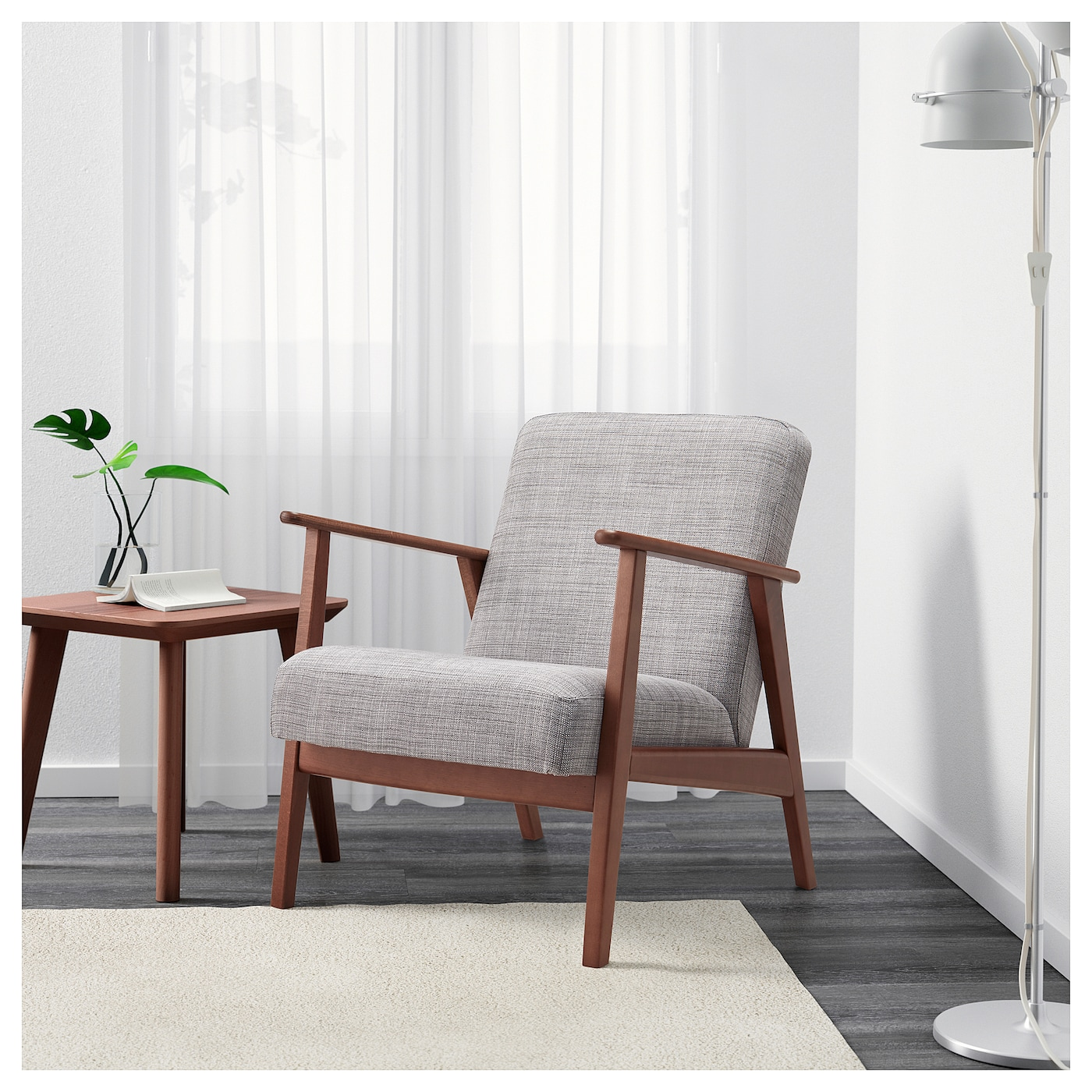 IKEA EKENÄSET armchair The chair legs are made of solid wood, which is a durable natural material.