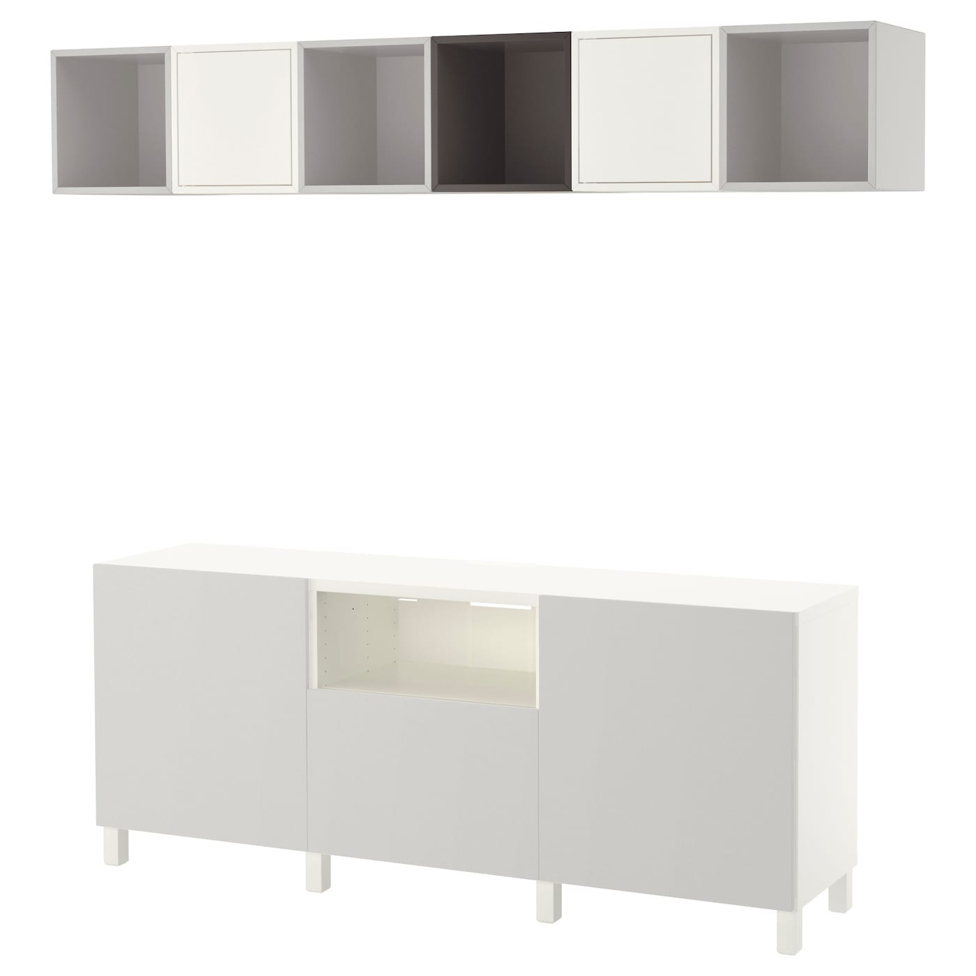 eket best cabinet combination for tv white dark grey light grey 210x40x220 cm ikea. Black Bedroom Furniture Sets. Home Design Ideas