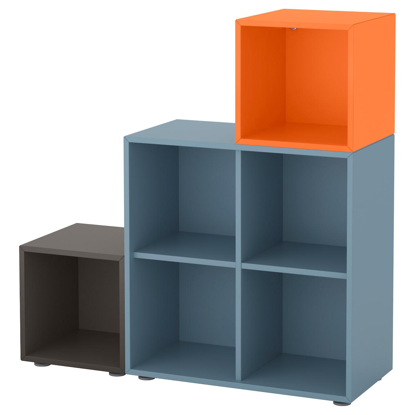 Blue Bookcase eket cabinet combination with feet light blue/dark grey/orange