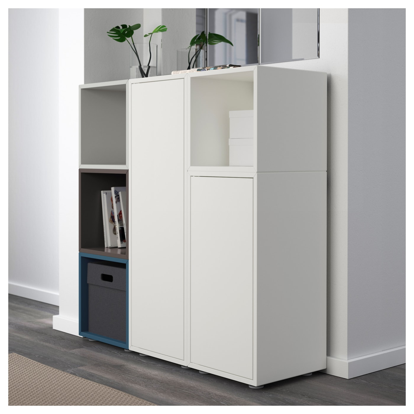eket cabinet combination with feet multicolour 2 105x35x107 cm ikea. Black Bedroom Furniture Sets. Home Design Ideas