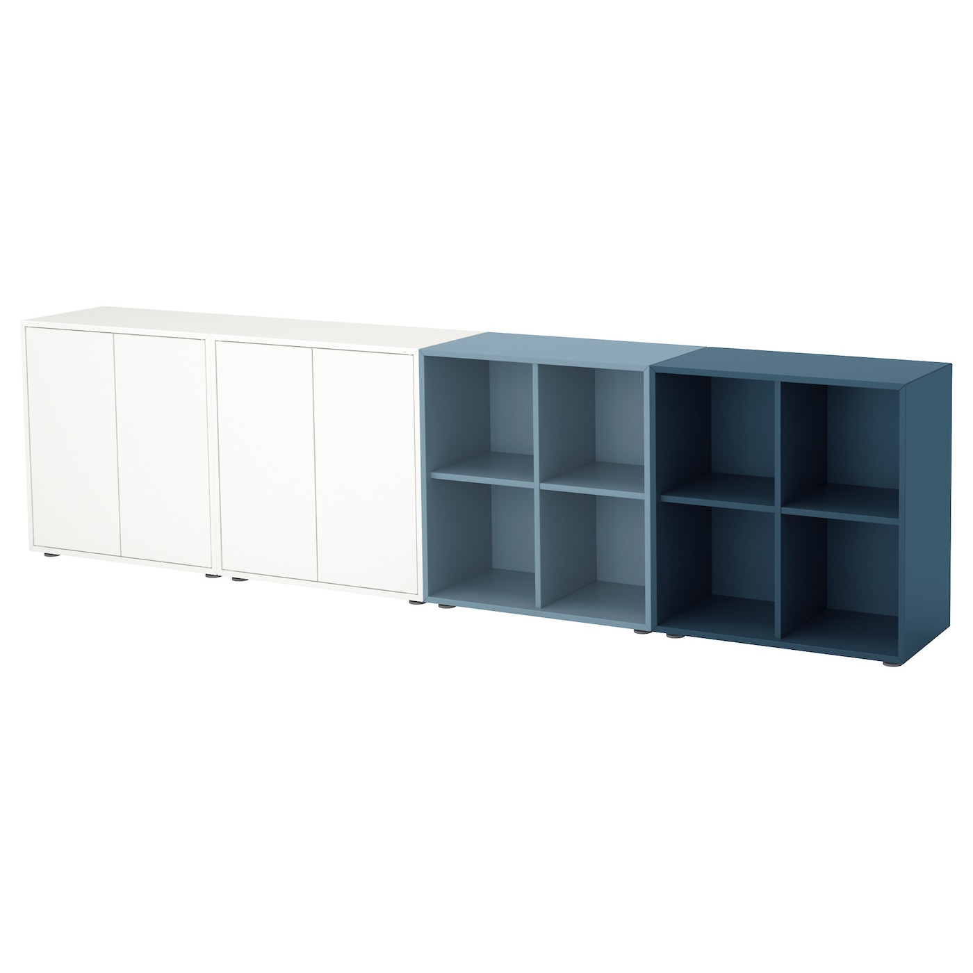 Eket Cabinet Combination With Feet White Light Blue Dark