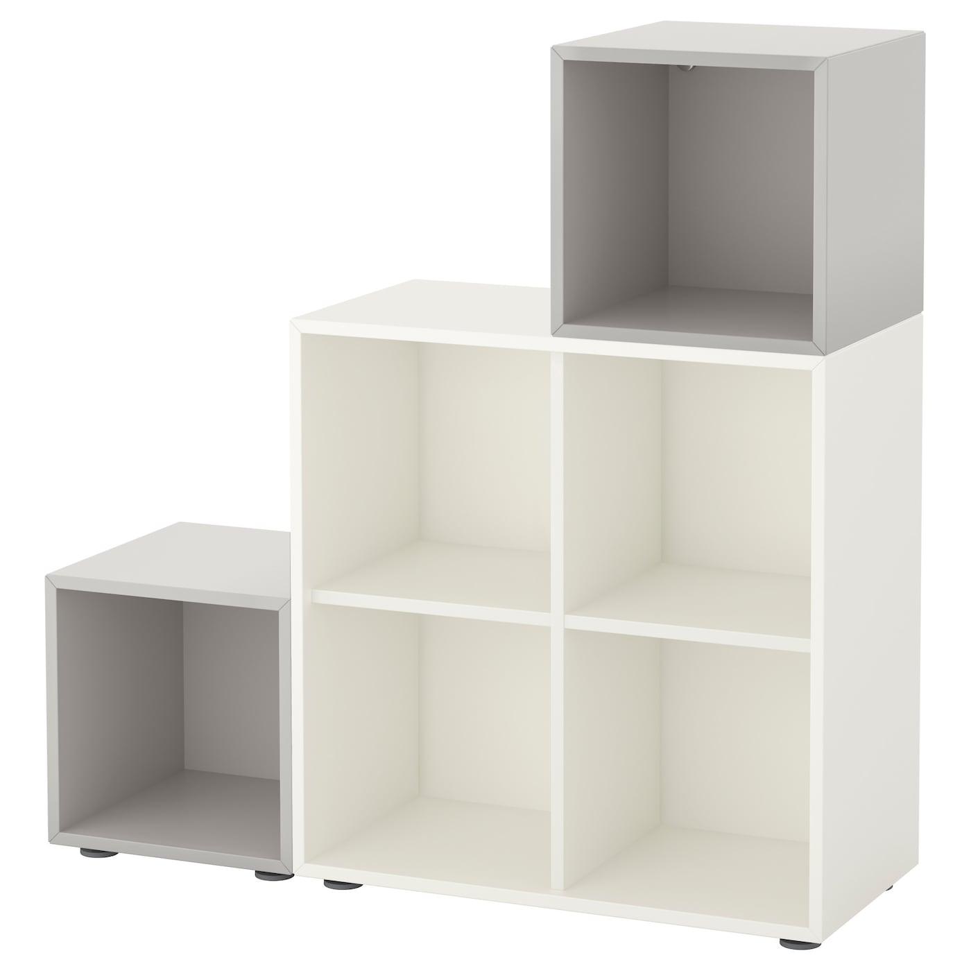 eket cabinet combination with feet white light grey 105 x 35 x 107 cm ikea. Black Bedroom Furniture Sets. Home Design Ideas