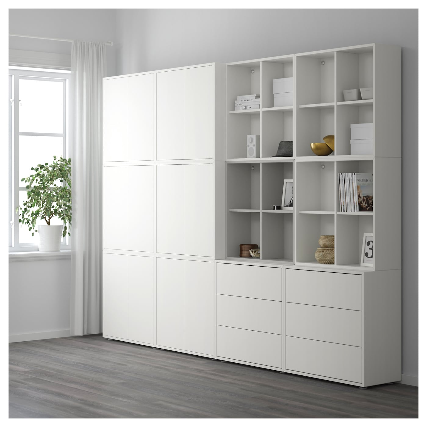 eket cabinet combination with feet white light grey 280 x 35 x 212 cm ikea. Black Bedroom Furniture Sets. Home Design Ideas