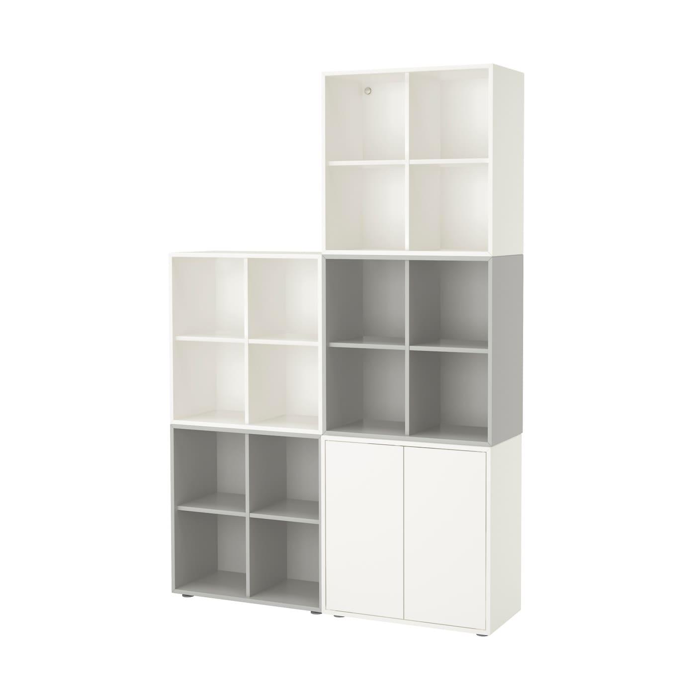 eket cabinet combination with feet white light grey 140 x 35 x 212 cm ikea. Black Bedroom Furniture Sets. Home Design Ideas