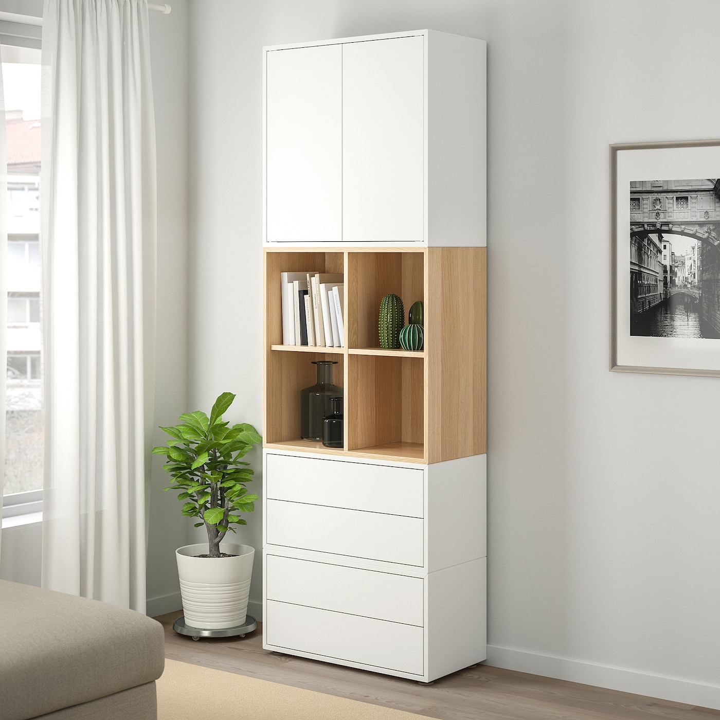 EKET cabinet combination with feet white/white stained oak effect 70 cm 70 cm 35 cm 212 cm