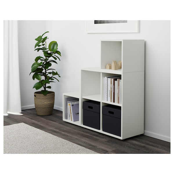 EKET Cabinet combination with feet, white, 105x35x107 cm