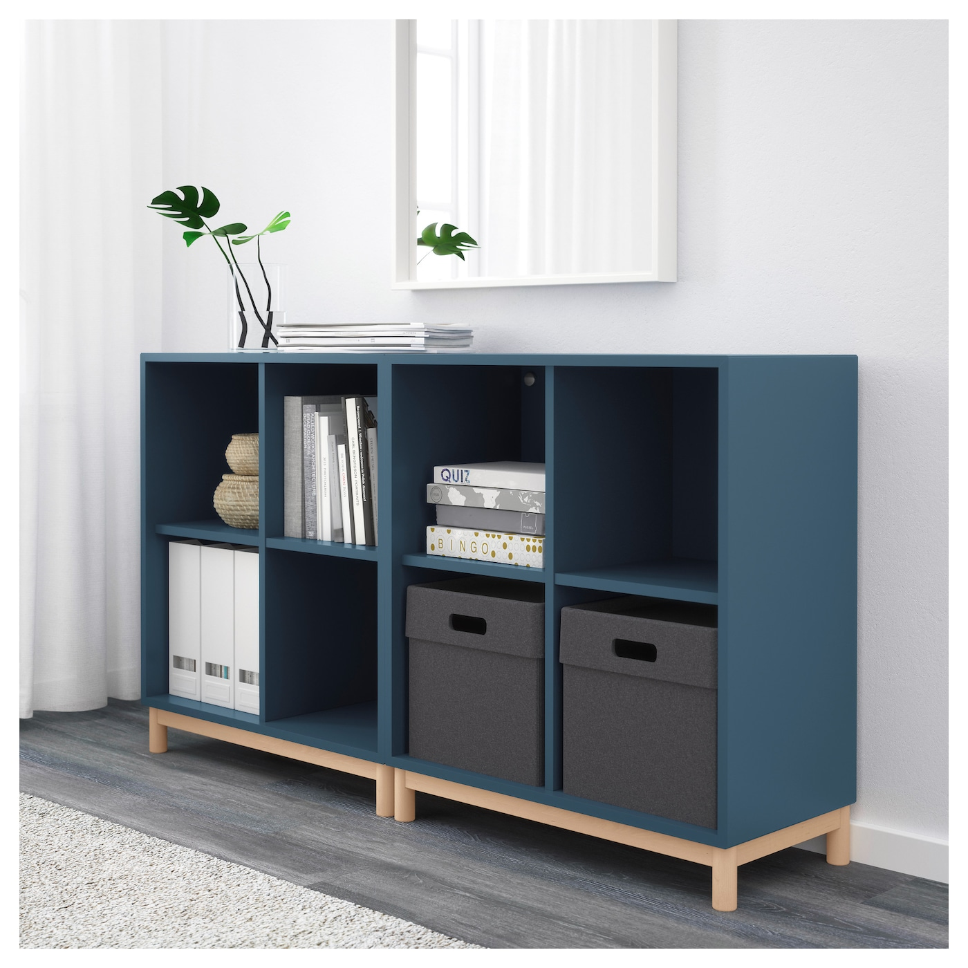 eket cabinet combination with legs dark blue 140 x 35 x 80. Black Bedroom Furniture Sets. Home Design Ideas