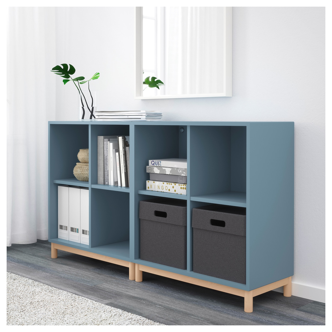 eket cabinet combination with legs light blue 140 x 35 x. Black Bedroom Furniture Sets. Home Design Ideas