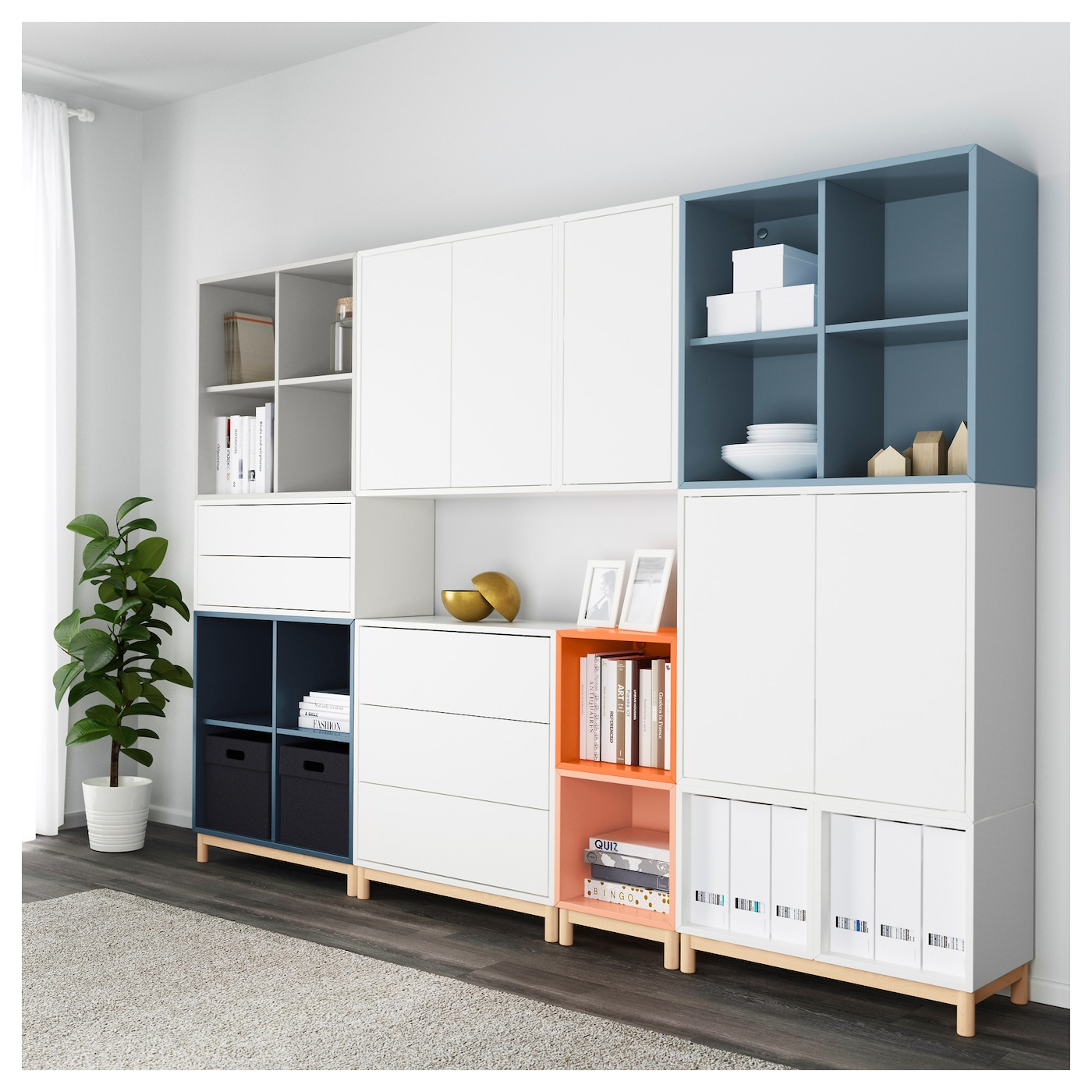 eket cabinet combination with legs multicolour 245 x 35 x 185 cm ikea. Black Bedroom Furniture Sets. Home Design Ideas