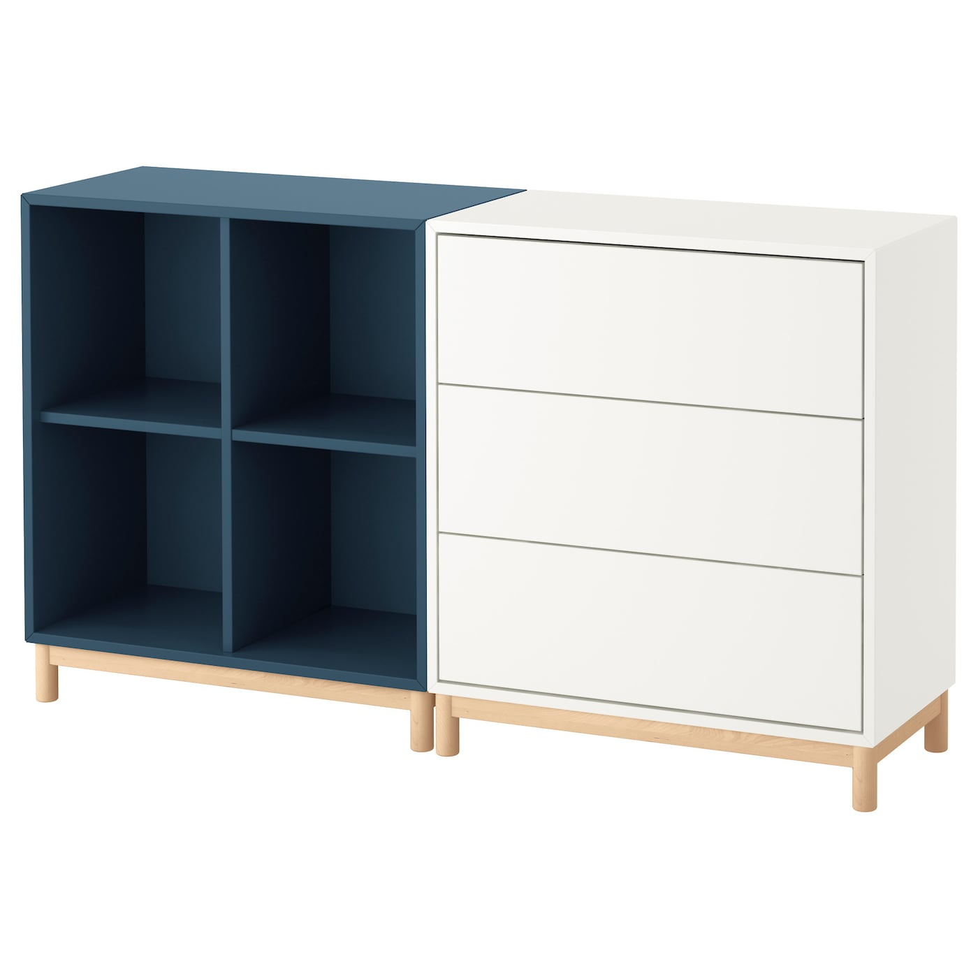 EKET Cabinet combination with legs White/dark blue