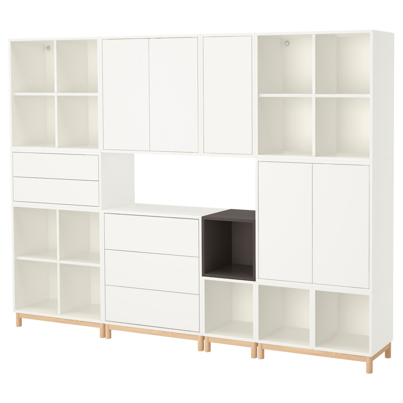 eket cabinet combination with legs white dark grey 245 x 35 x 185 cm ikea. Black Bedroom Furniture Sets. Home Design Ideas