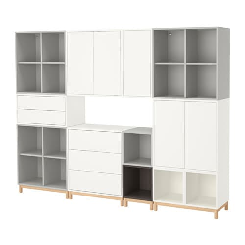 eket cabinet combination with legs white light grey dark. Black Bedroom Furniture Sets. Home Design Ideas