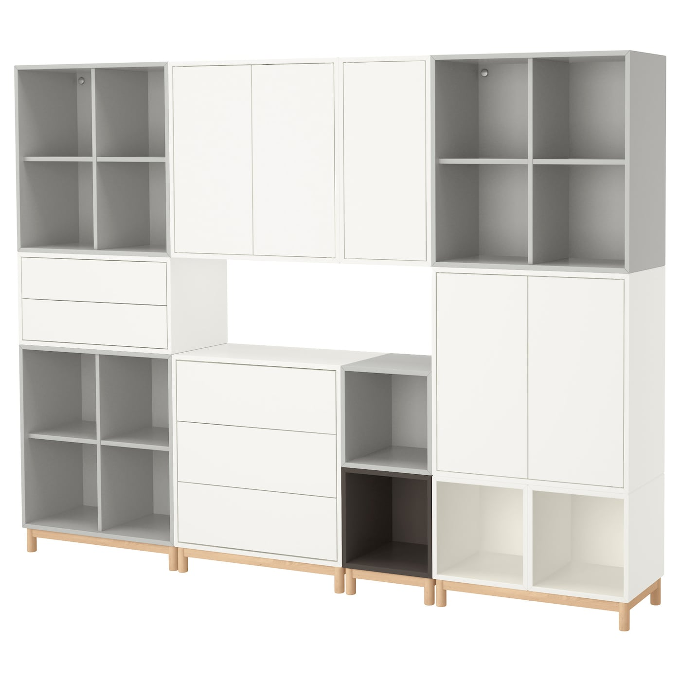 eket cabinet combination with legs white light grey dark grey 245 x 35 x 185 cm ikea. Black Bedroom Furniture Sets. Home Design Ideas