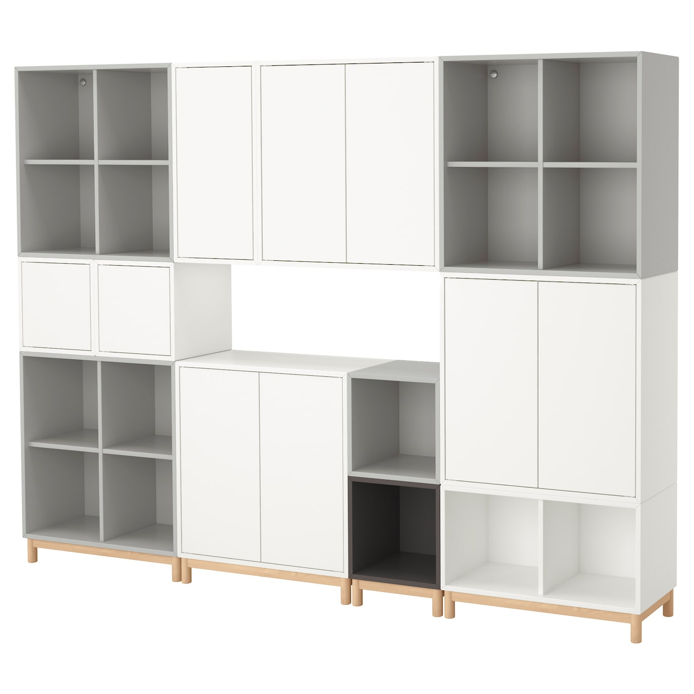 Eket cabinet combination with legs white light grey dark grey 245x35x185 cm - Caisson mural de rangement ikea ...