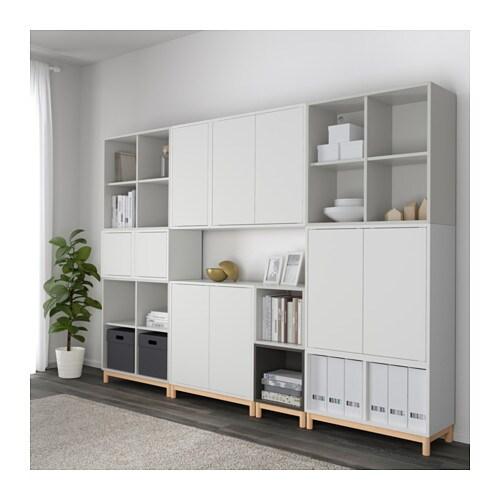 Eket cabinet combination with legs white light grey dark grey 245x35x185 cm ikea - Gambe mobili ikea ...