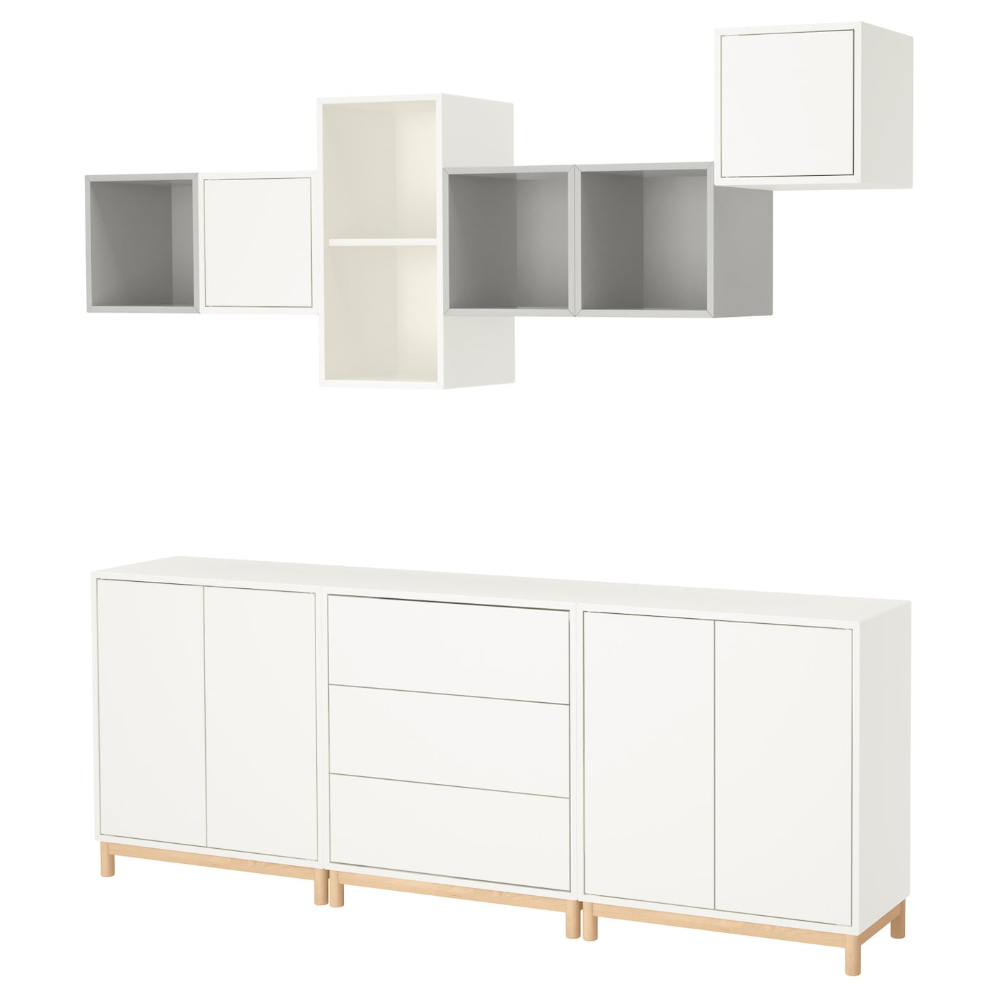 eket cabinet combination with legs white light grey 210 x 35 x 210 cm ikea. Black Bedroom Furniture Sets. Home Design Ideas