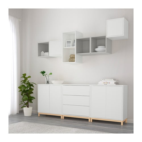 Eket cabinet combination with legs white light grey for Besta wandmontage
