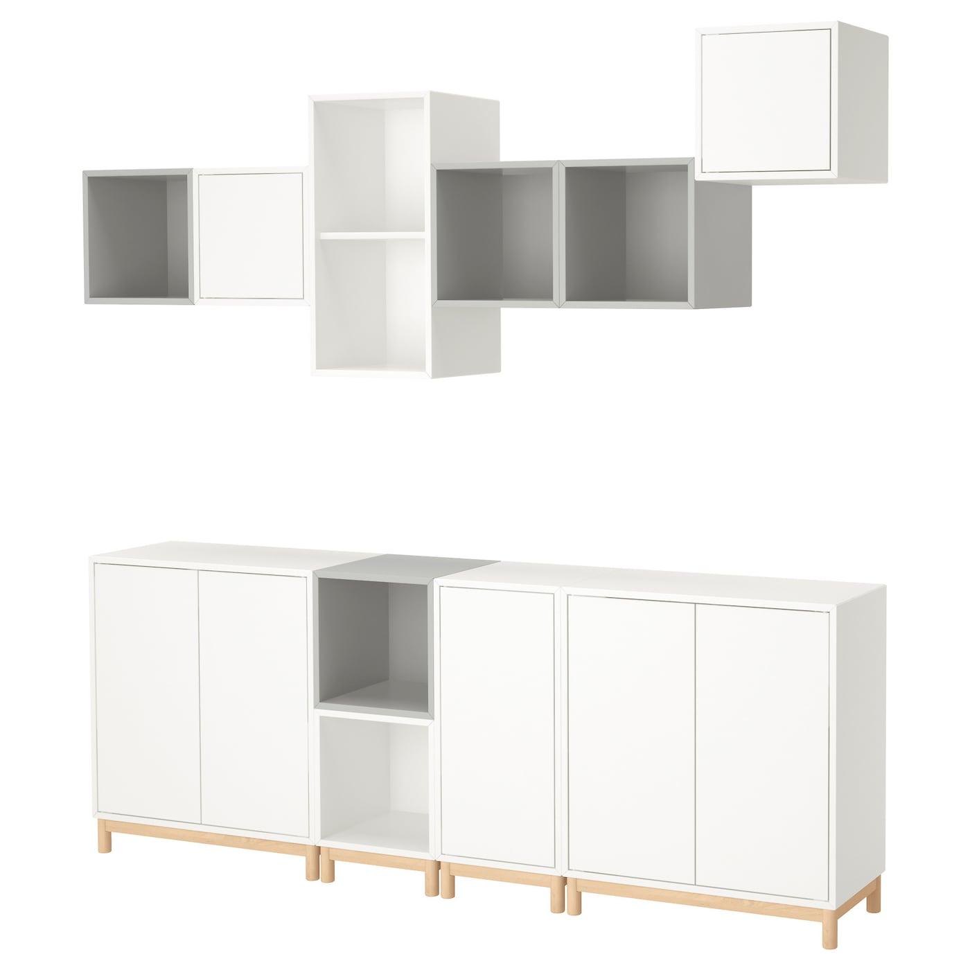 Eket cabinet combination with legs white light grey 210x35x210 cm ikea - Ikea rangement mural ...