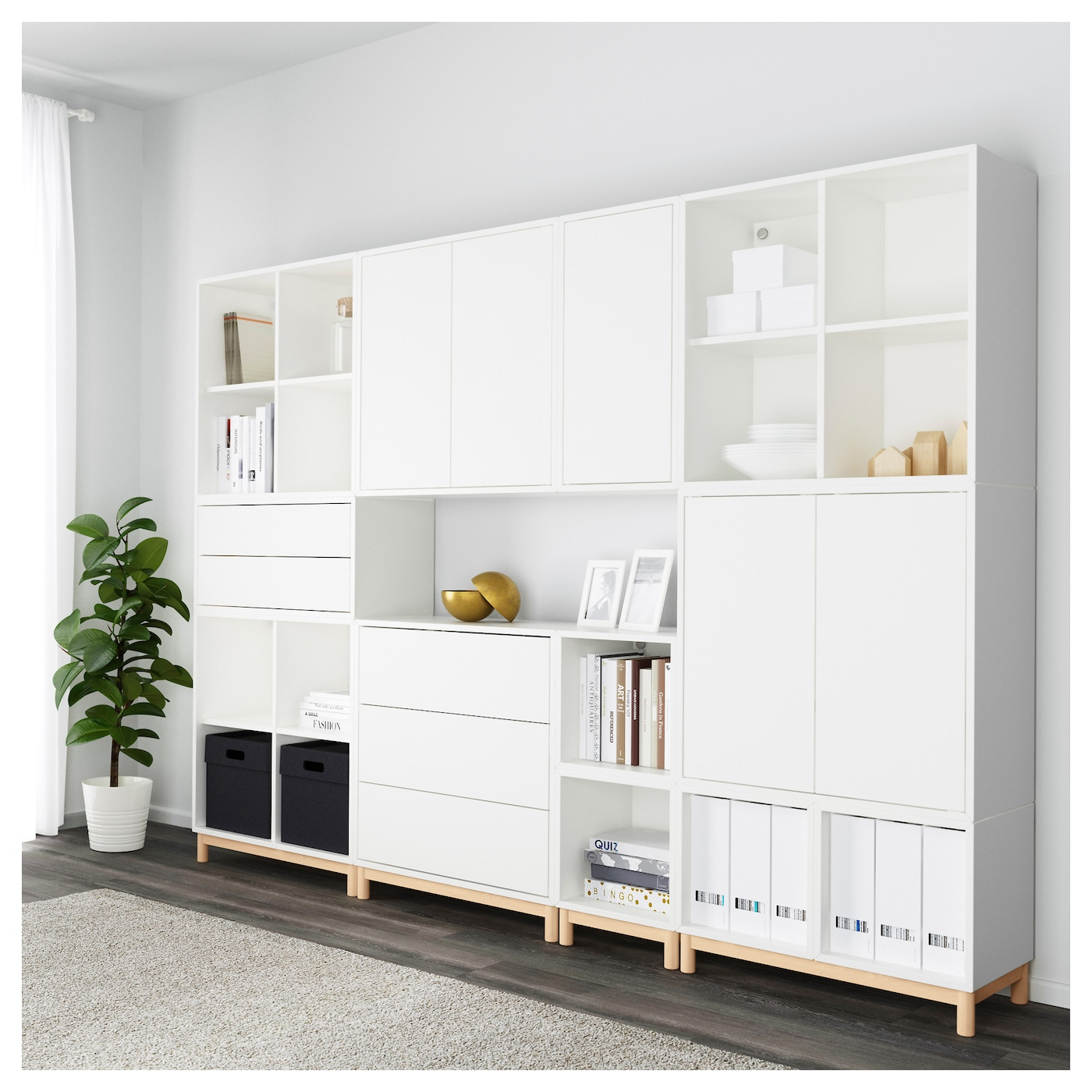 eket cabinet combination with legs white 245 x 35 x 185 cm. Black Bedroom Furniture Sets. Home Design Ideas