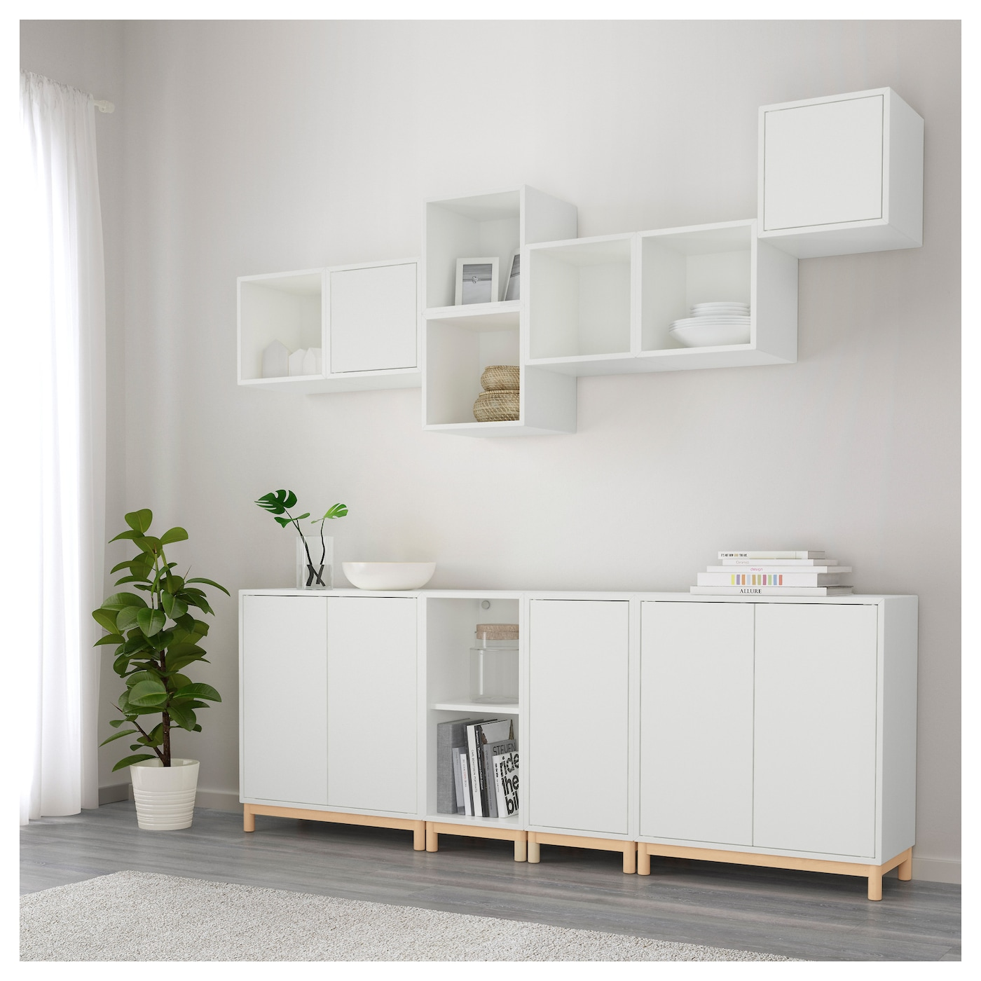 eket cabinet combination with legs white 210x35x210 cm ikea. Black Bedroom Furniture Sets. Home Design Ideas