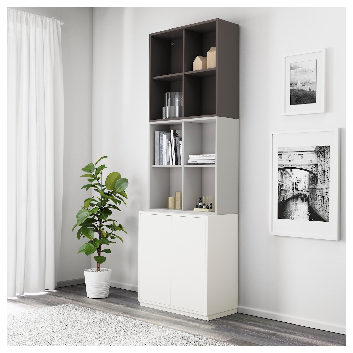 eket cabinet combination with plinth white light grey dark grey 70 x 35 x 213 cm ikea. Black Bedroom Furniture Sets. Home Design Ideas