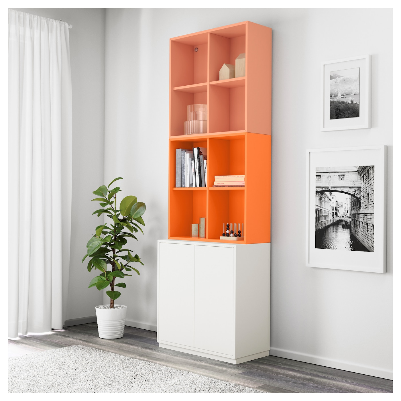 Eket Cabinet Combination With Plinth White Orange Light