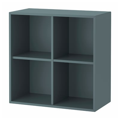EKET Cabinet with 4 compartments, grey-turquoise, 70x35x70 cm