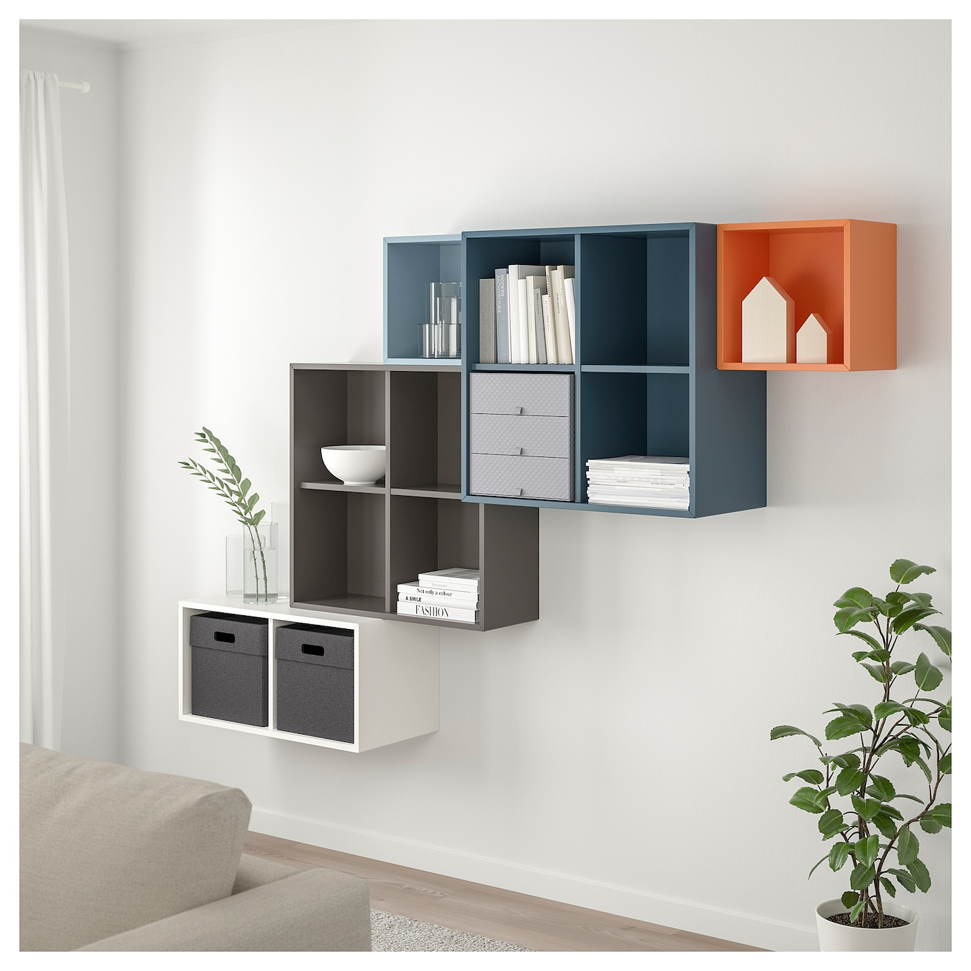 eket wall mounted cabinet combination multicolour 210 x 35 x 140 cm ikea. Black Bedroom Furniture Sets. Home Design Ideas