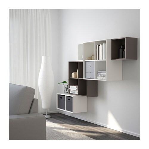 eket wall mounted cabinet combination white dark grey 210x35x140 cm ikea. Black Bedroom Furniture Sets. Home Design Ideas