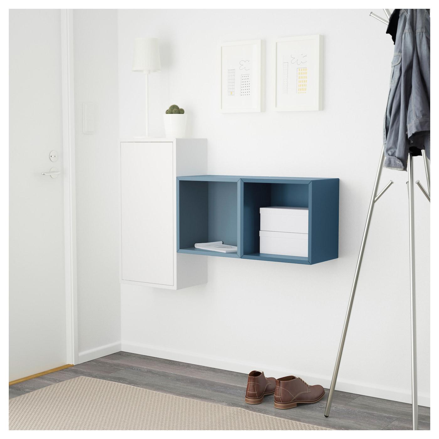 Eket Wall Mounted Cabinet Combination White Light Blue Dark Blue 105x25x70 Cm Ikea