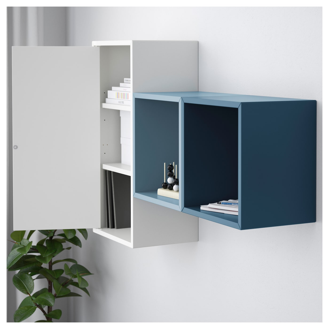 Eket Wall Mounted Cabinet Combination White Light Blue