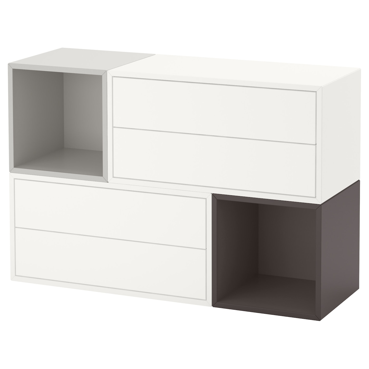 Eket wall mounted cabinet combination white light grey dark grey 105x35x70 cm - Caisson mural de rangement ikea ...