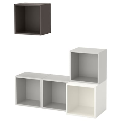 EKET Wall-mounted cabinet combination, white/light grey/dark grey, 105x35x120 cm