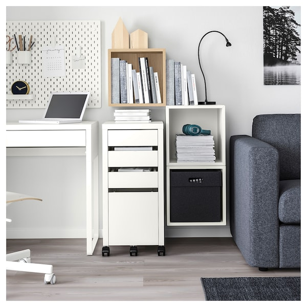 EKET Wall-mounted cabinet combination, white stained oak effect/white, 105x35x70 cm