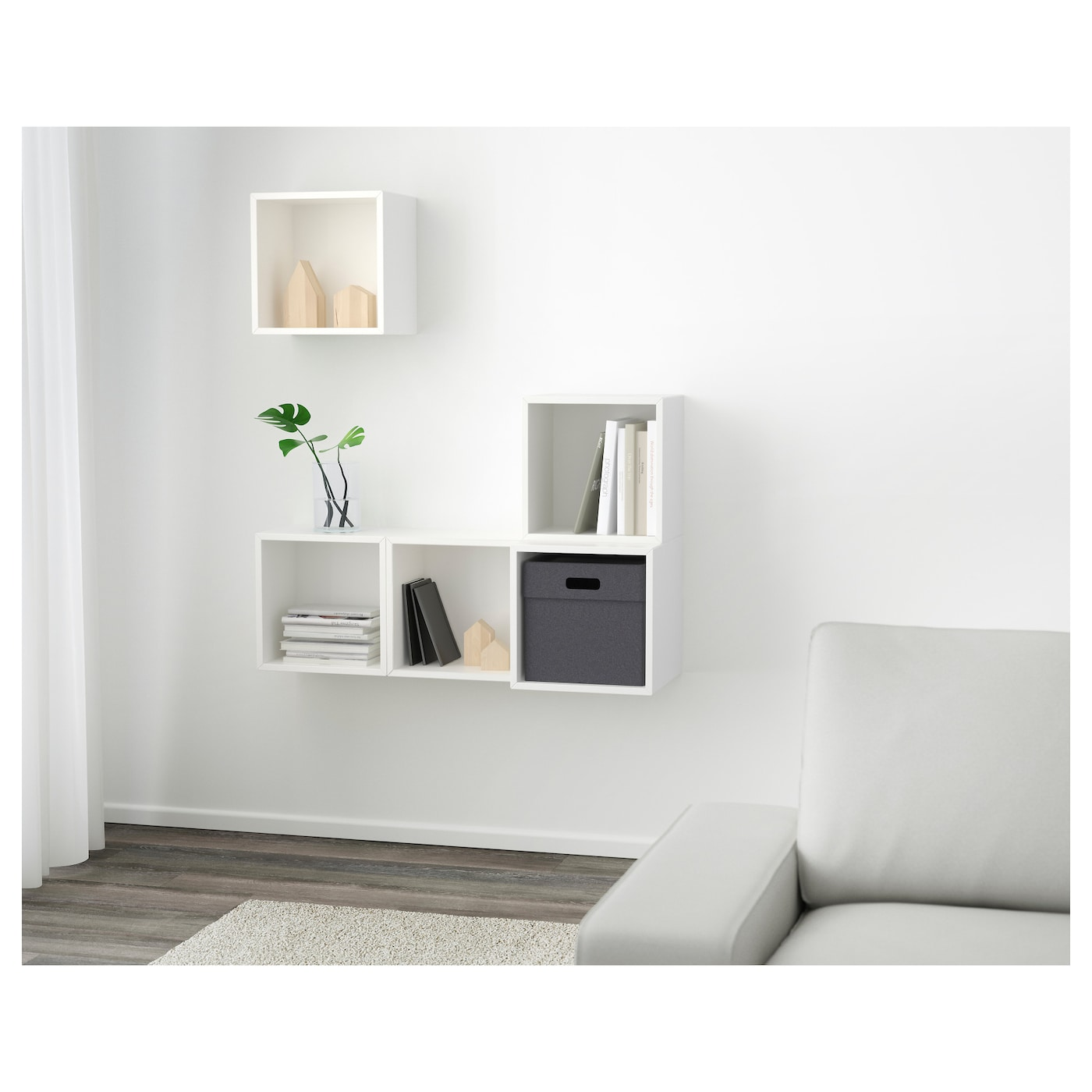 Attirant EKET Wall Mounted Cabinet Bination White 105x35x120 Cm IKEA