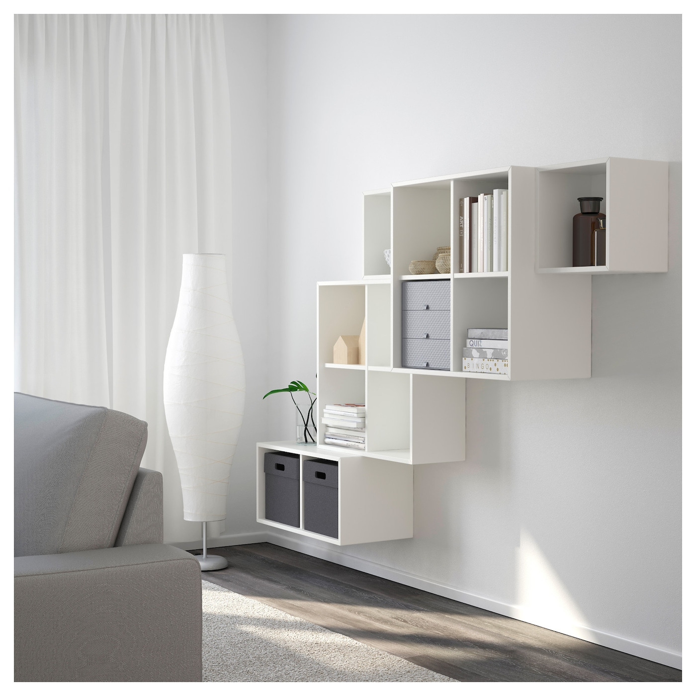 eket wall mounted cabinet combination white 210x35x140 cm ikea. Black Bedroom Furniture Sets. Home Design Ideas