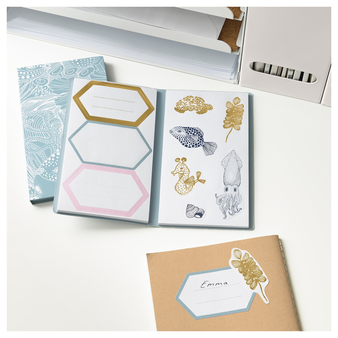 IKEA EKLOG folder with stickers Self-adhesive stickers which you can use to decorate your presents.