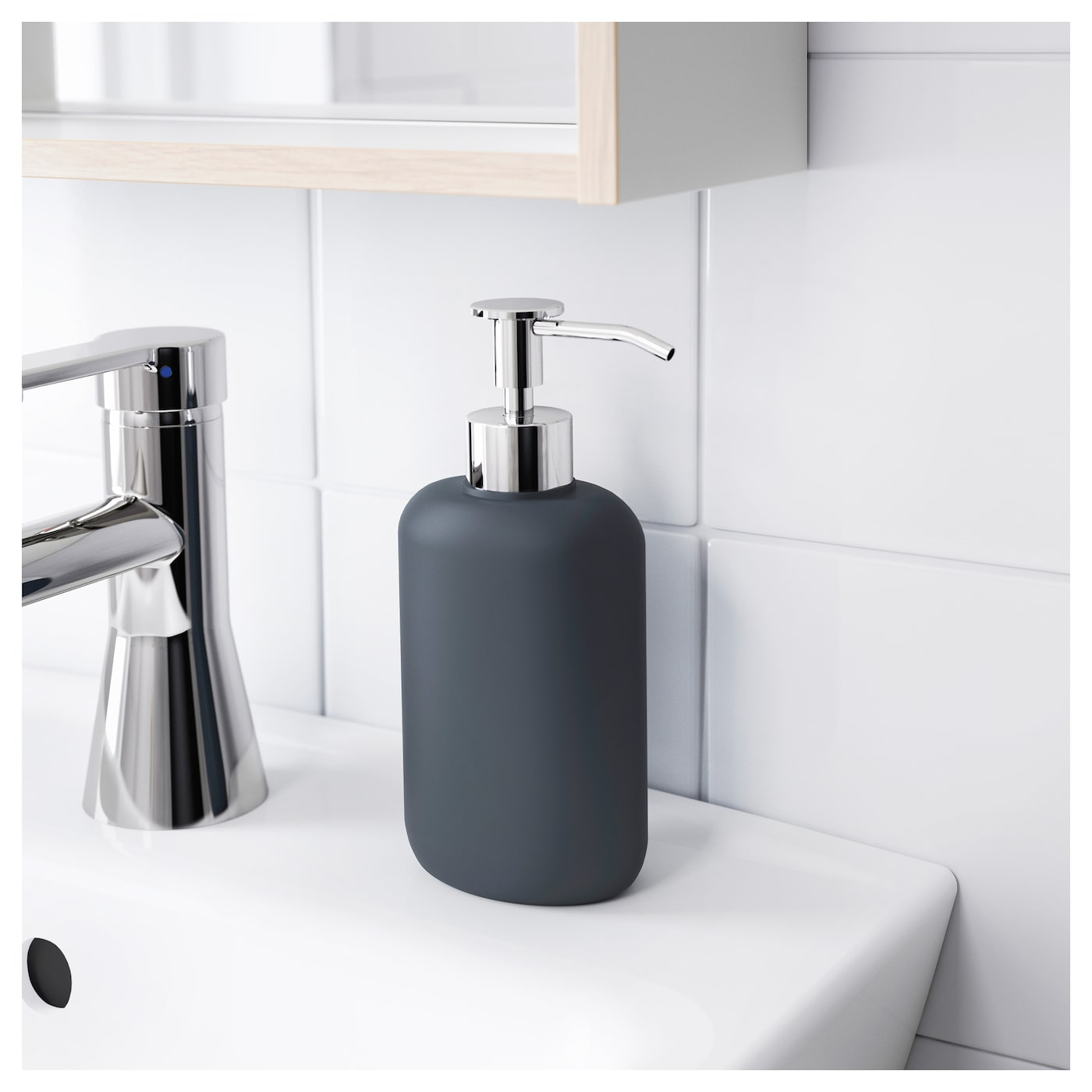 Ekoln soap dispenser dark grey ikea for Dark grey bathroom accessories