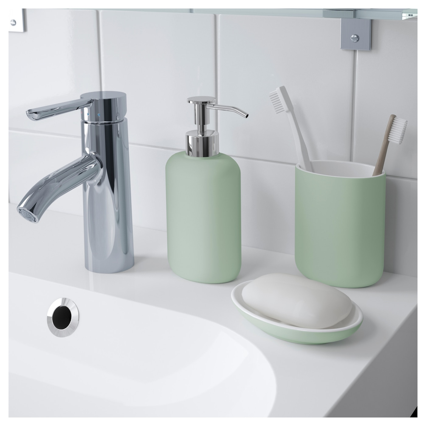 Ekoln soap dispenser light grey green ikea for Green and grey bathroom accessories