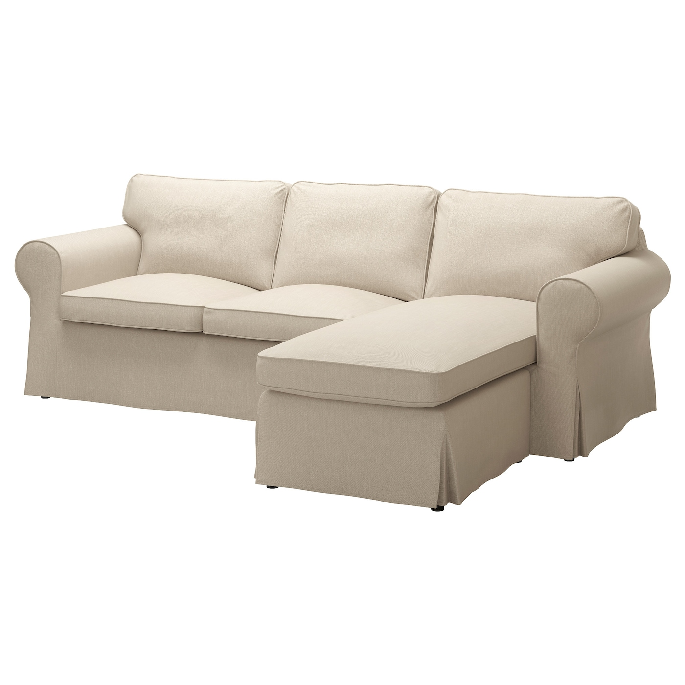 Ektorp 3 seat sofa with chaise longue nordvalla dark beige for Buy chaise longue