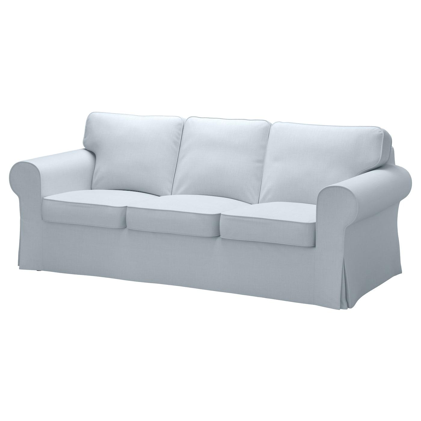EKTORP Cover three seat sofa Nordvalla light blue IKEA