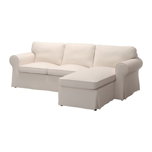 EKTORP Cover twoseat sofa w chaise longue  Lofallet