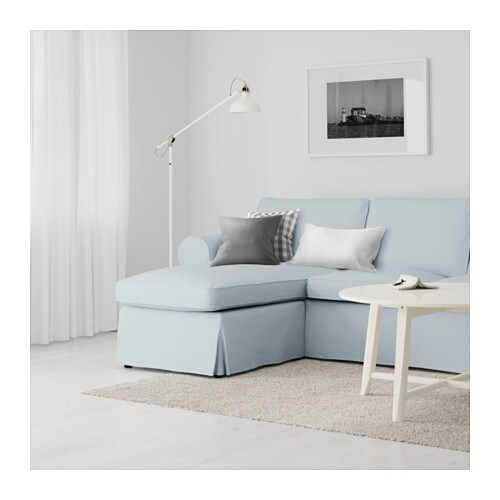 ektorp two seat sofa and chaise longue nordvalla light blue ikea. Black Bedroom Furniture Sets. Home Design Ideas
