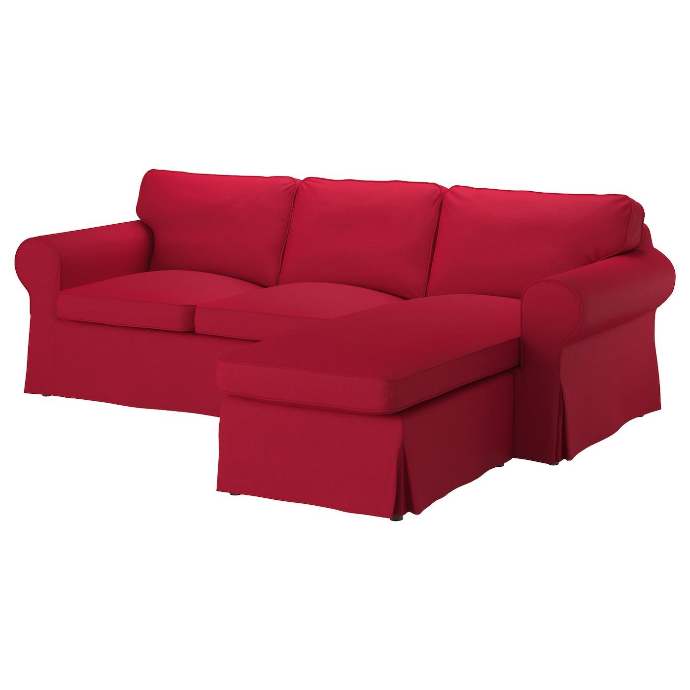 Ektorp two seat sofa and chaise longue nordvalla red ikea - Fundas para sofa chaise longue ...