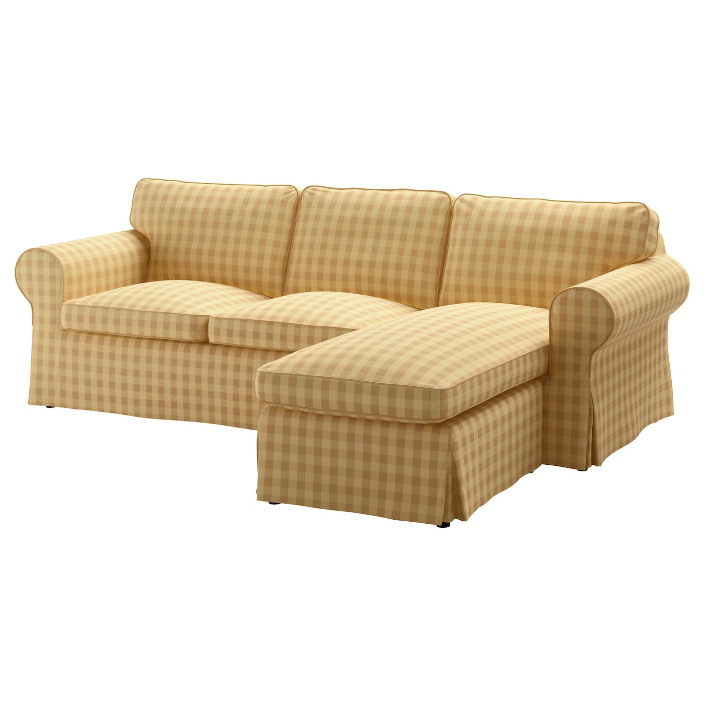 Ektorp two seat sofa and chaise longue skaftarp yellow ikea for Couch with 2 chaises