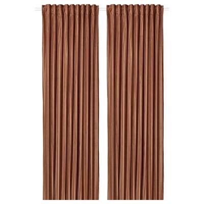 ELDTORN Room darkening curtains, 1 pair, brown, 145x250 cm