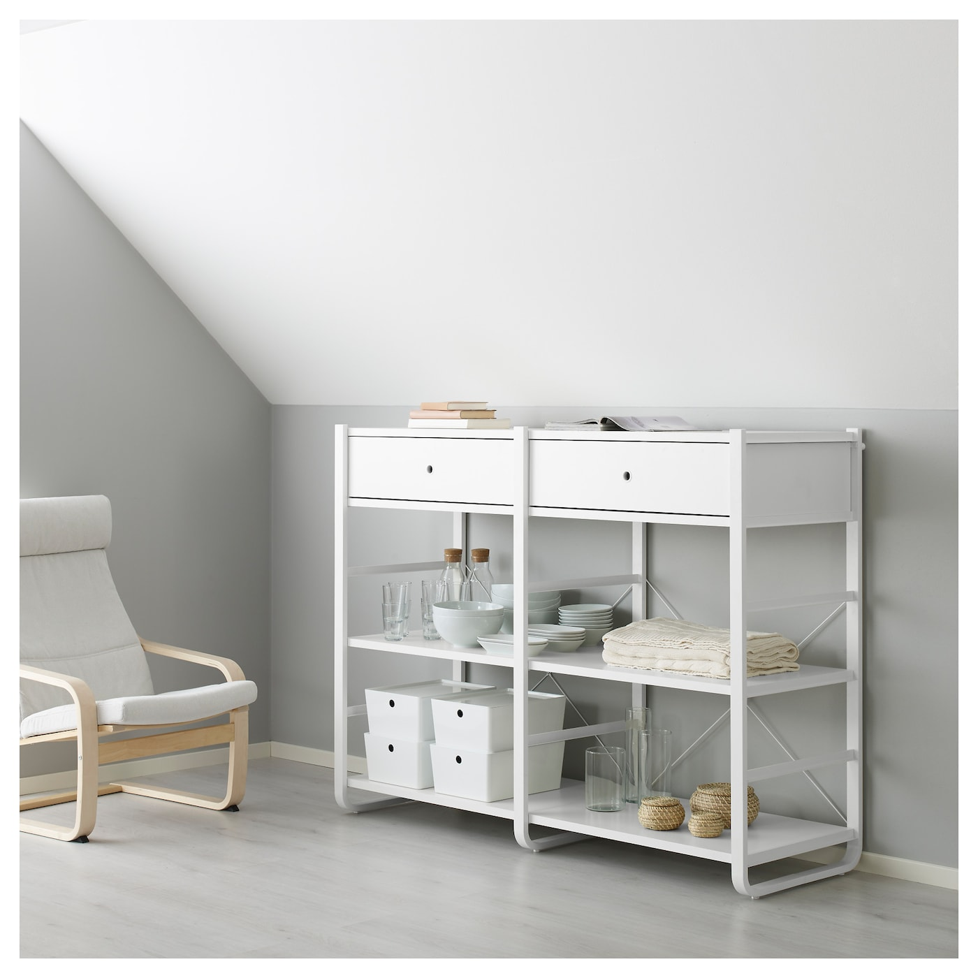 elvarli 2 sections white 165 x 55 x 126 cm ikea. Black Bedroom Furniture Sets. Home Design Ideas