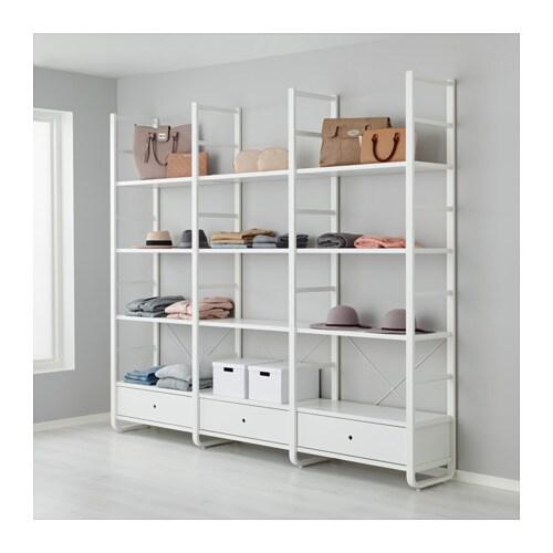 Elvarli 3 Sections White Bamboo 245x40x216 Cm Ikea